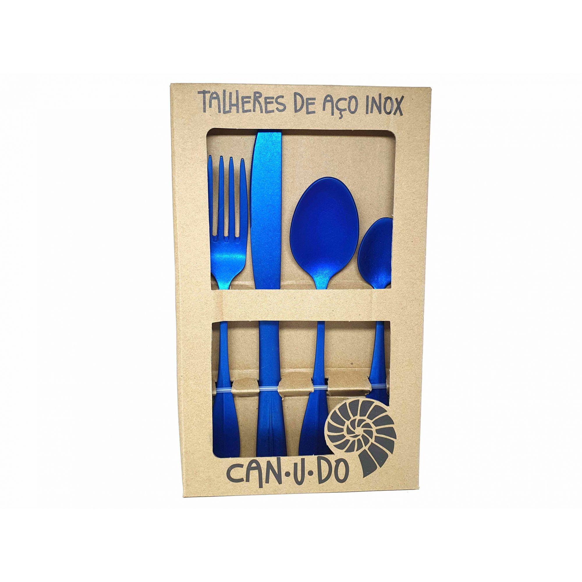 Faqueiro de Aço Inox Envelhecido - 24 peças Azul