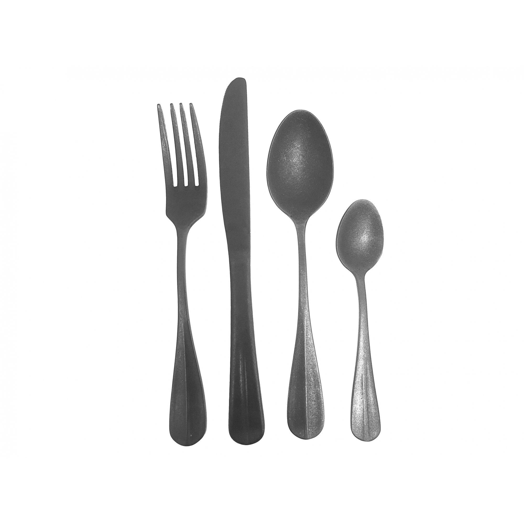 Faqueiro de Aço Inox Envelhecido - 24 peças Prata