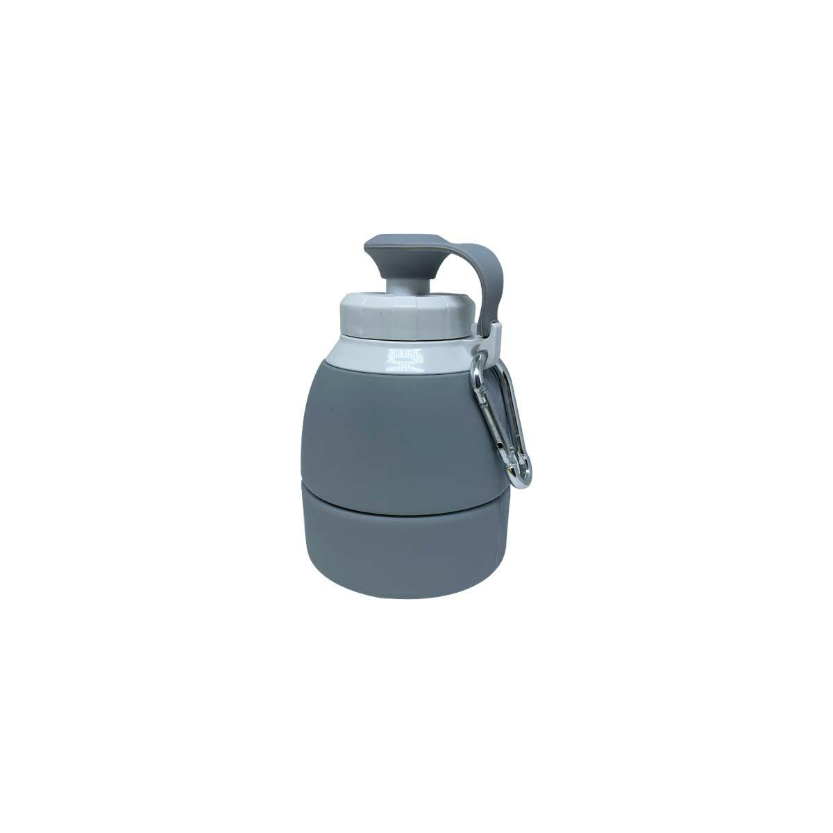Garrafa de Silicone Retrátil - 580ml Cinza