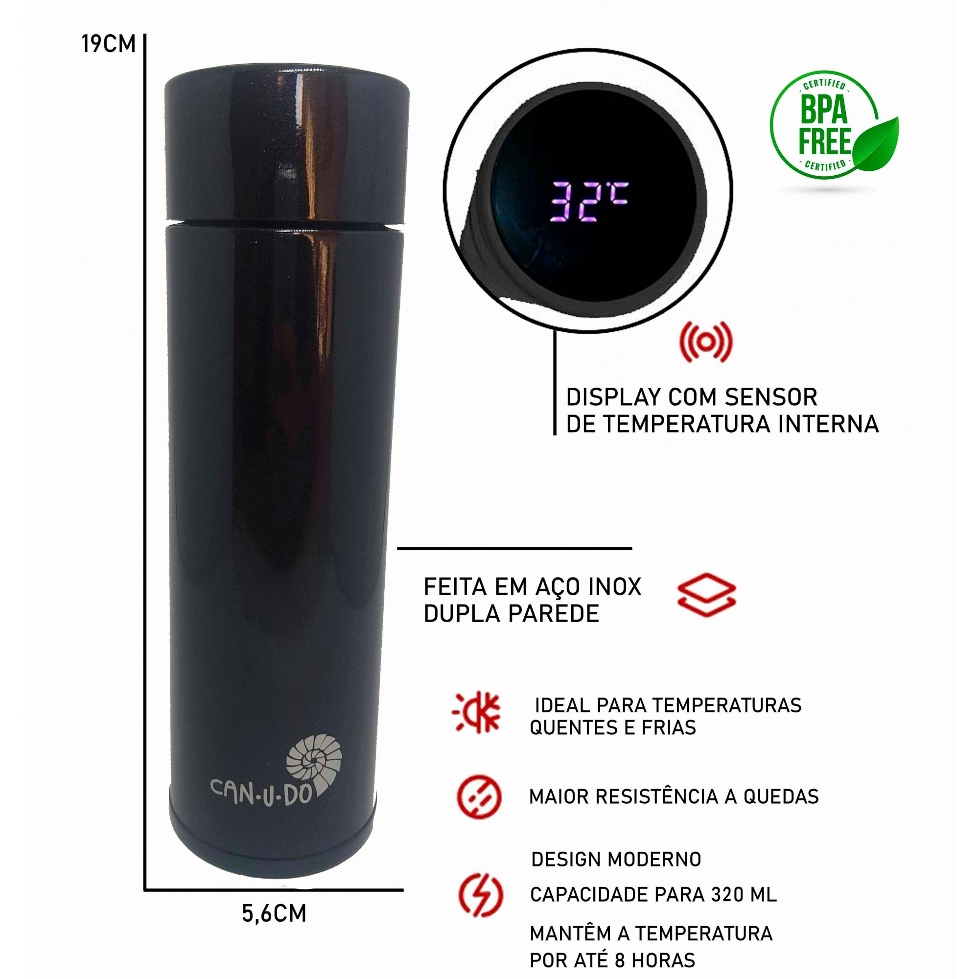 Garrafa Térmica de Inox Smart - 320ml Preta