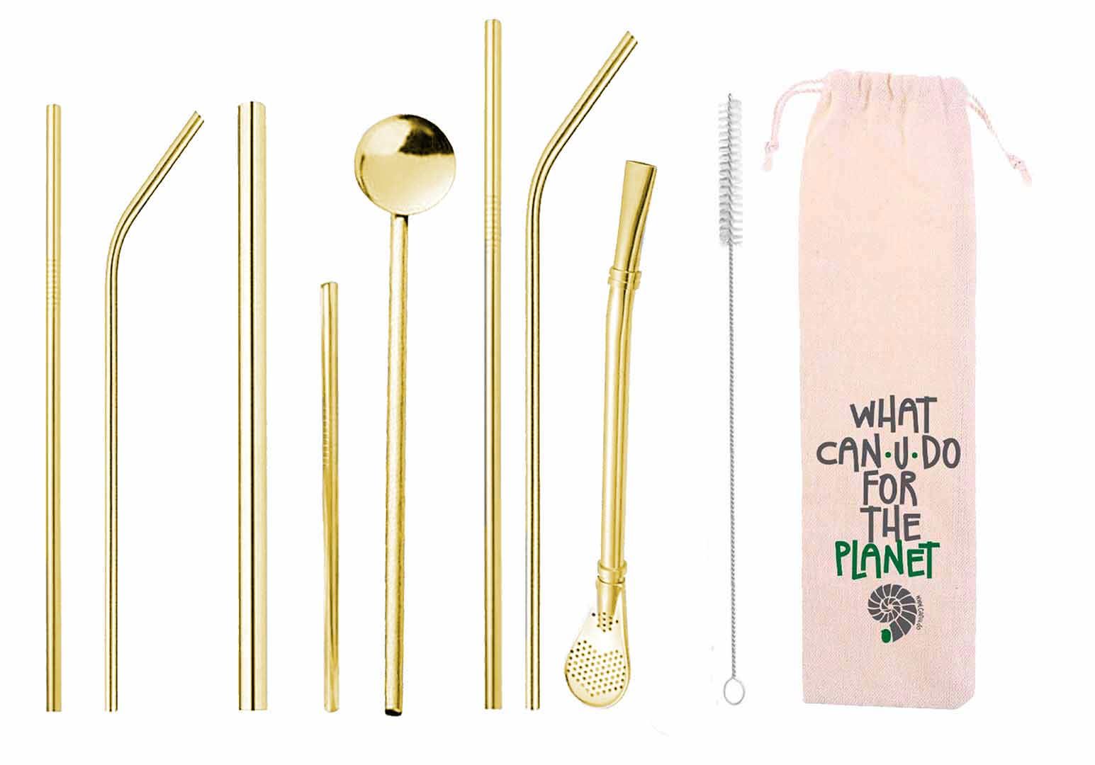 Kit 10 em 1 - Canudos variados em inox Dourado