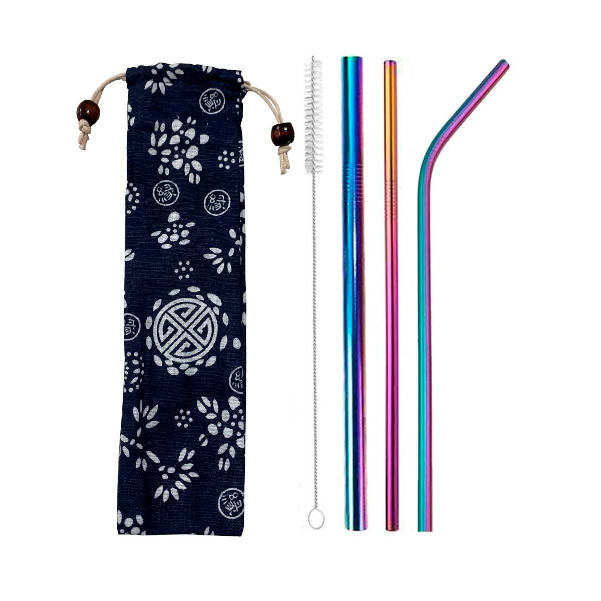 Kit 3 Canudos de Inox Colorido + Escova + Ecobag Estampada