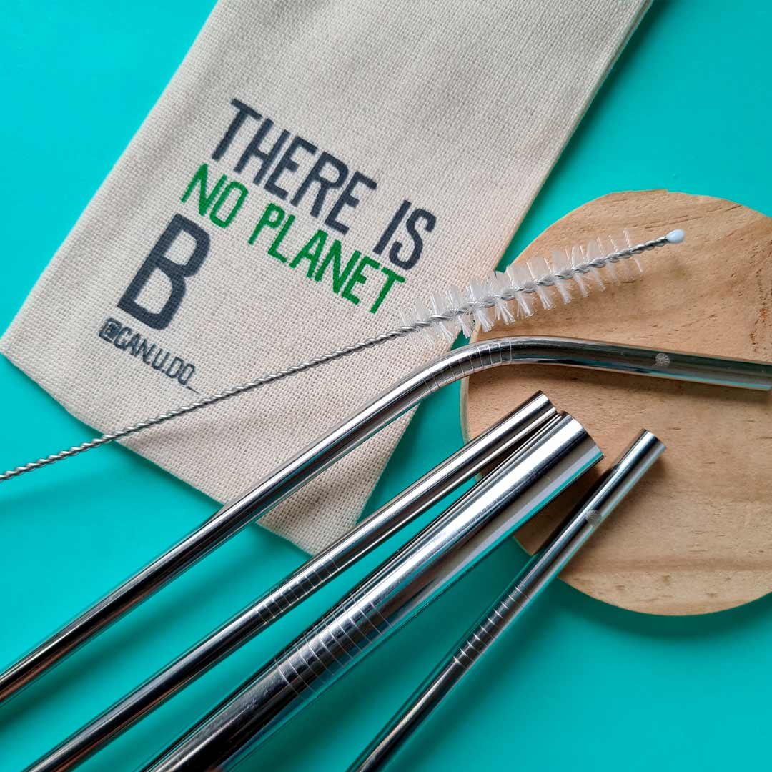 Kit 5 em 1-3 Canudos de Inox + Escova + Ecobag (Shake 8mm) - Planet B