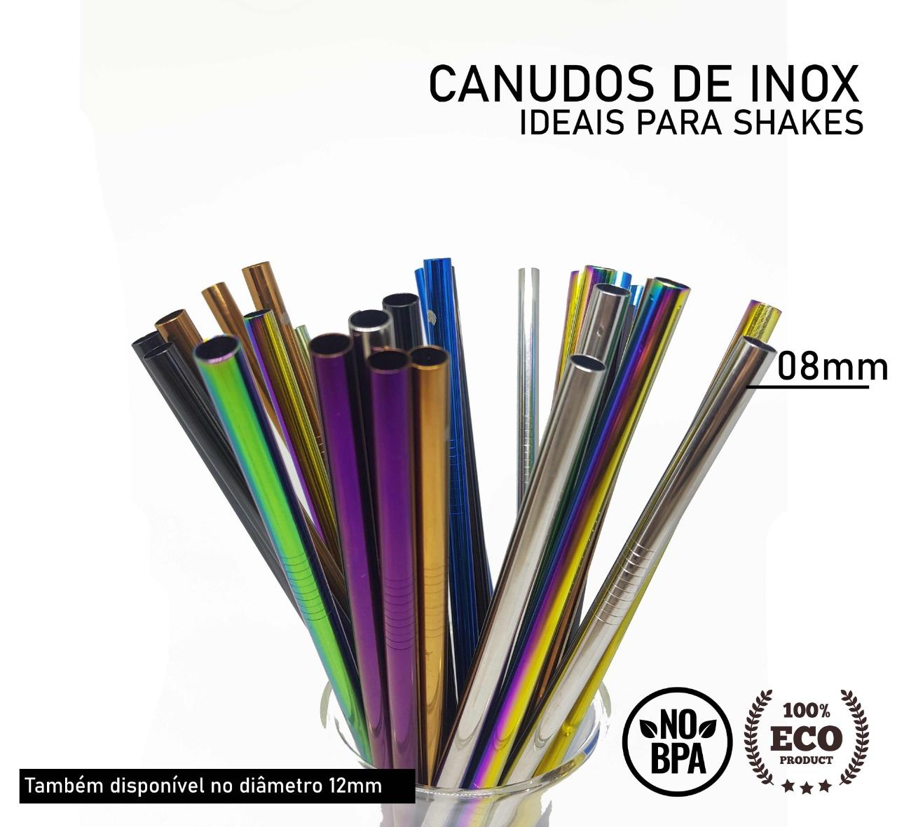 Kit 5 em 1-3 Canudos de Inox + Escova + Ecobag (Shake 8mm) Preto - Planet B