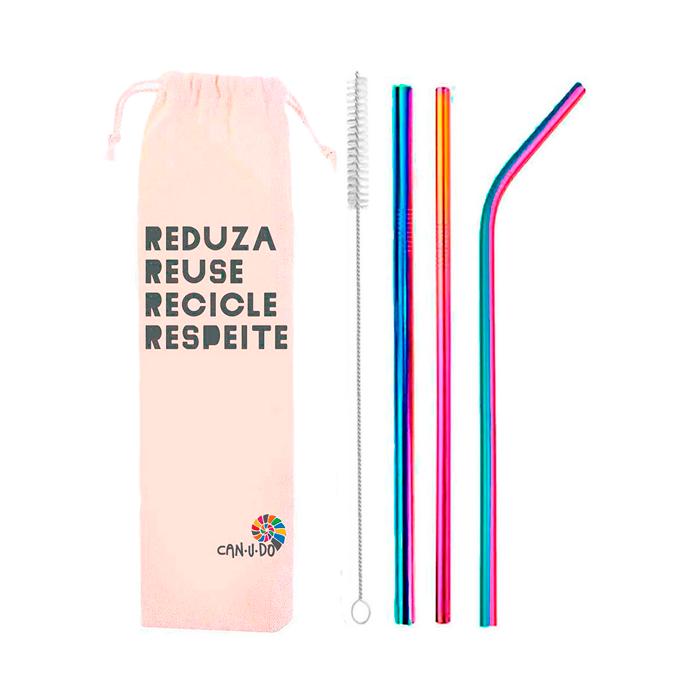 Kit 5 em 1 Inox (Shake 8mm) + Escova + Ecobag Reuse Rainbow
