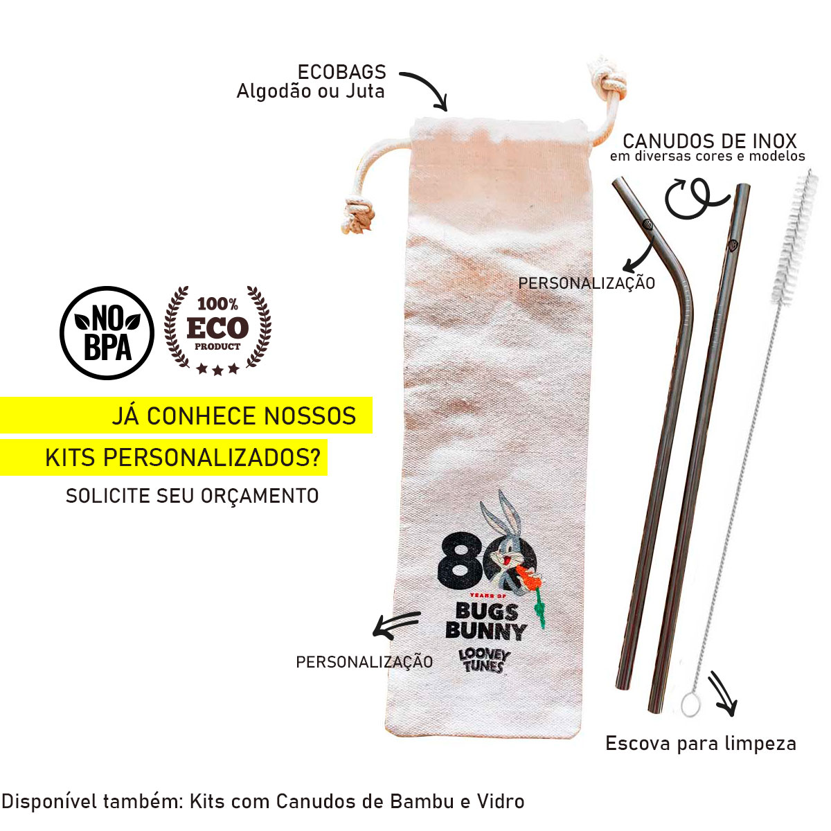 Kit 5 em 1 (Shake 12mm) - 3 Canudos de Inox + Escova + Ecobag