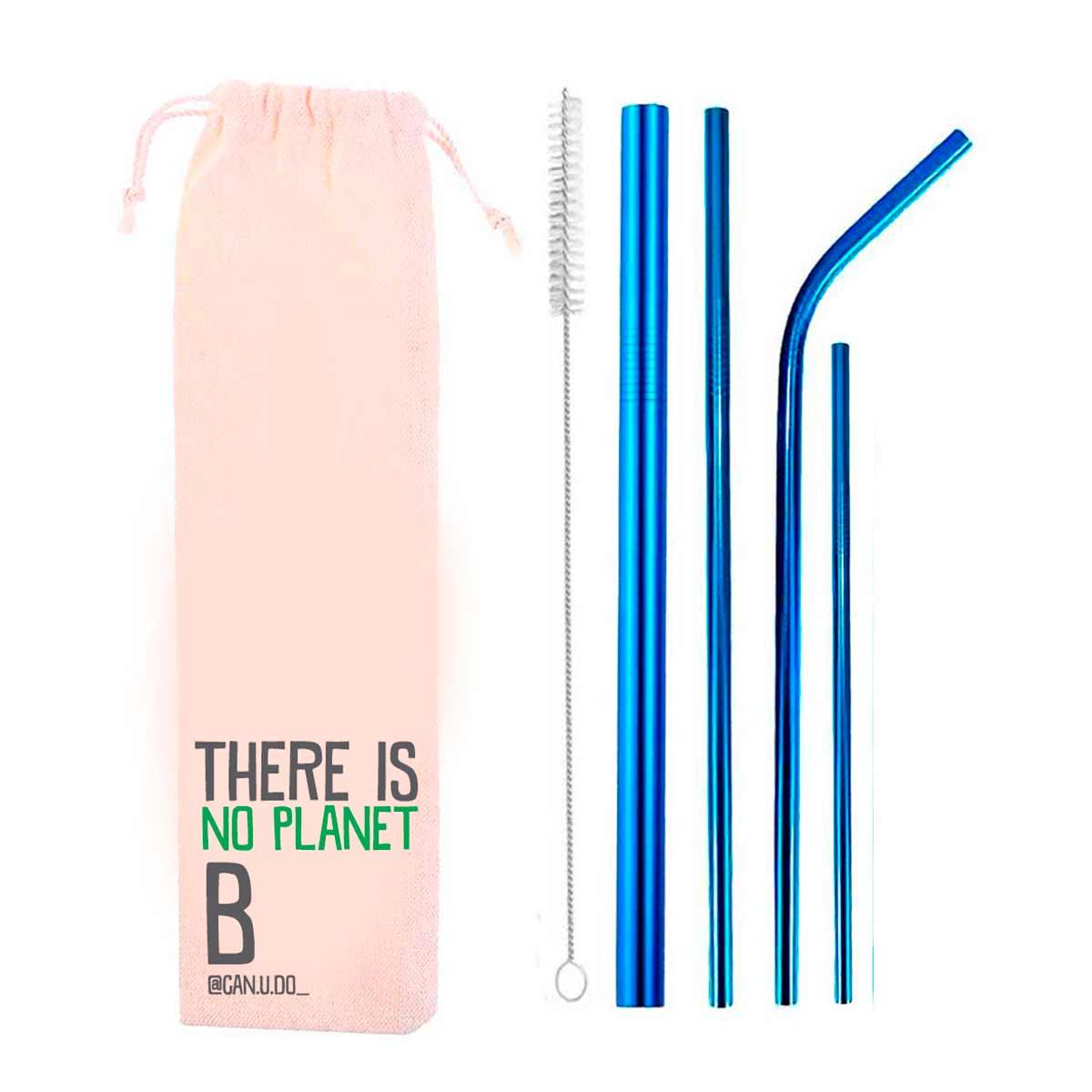 Kit 6 em 1- 4 Canudos de Inox Azul + Escova + Ecobag Planet B (Shake 8mm)