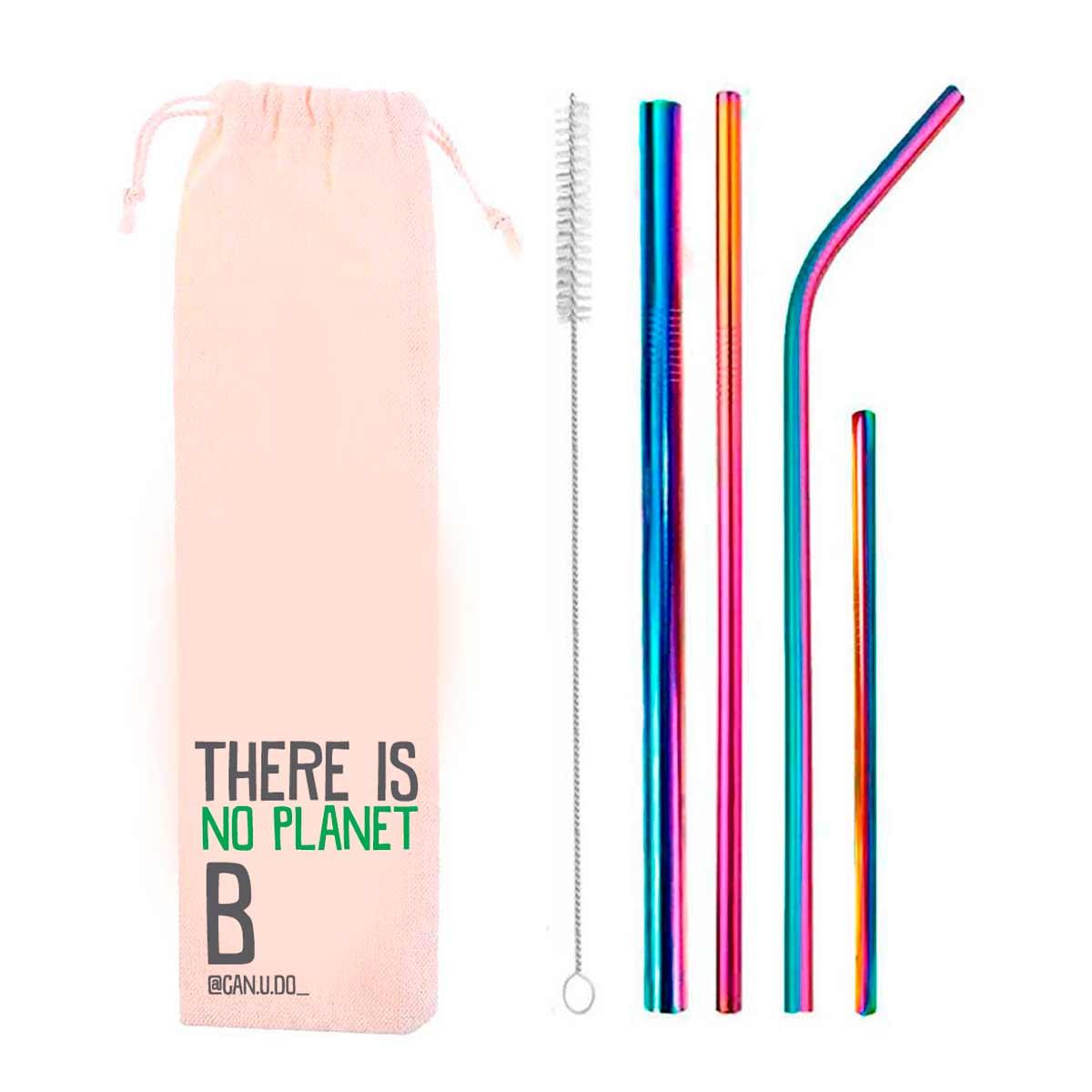 Kit 6 em 1- 4 Canudos de Inox Rainbow + Escova + Ecobag Planet B (Shake 8mm)