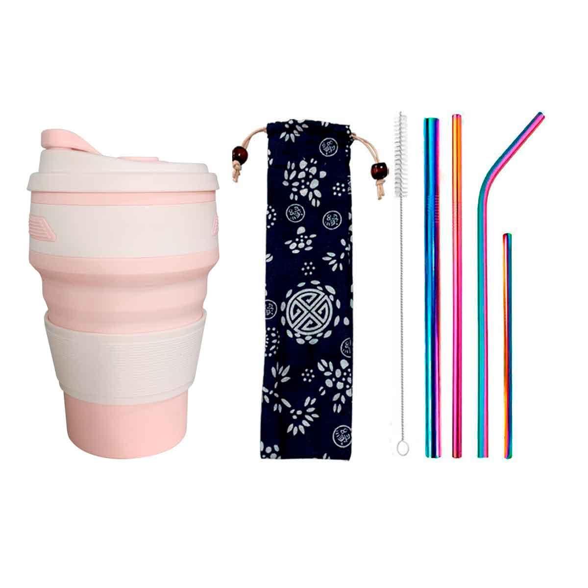 Kit 6 em 1 Inox Rainbow Florido + Copo Retrátil