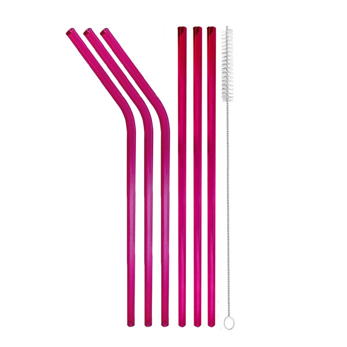 Kit Garrafa de Silicone Retrátil + Kit Canudos de Vidro Coloridos + Bolsa