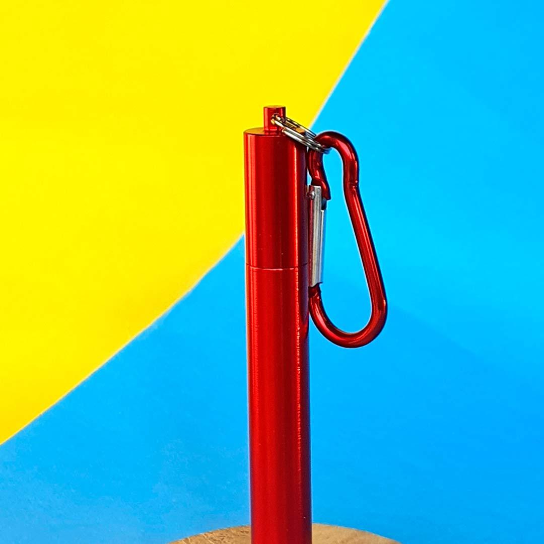 Garrafa Fast Click Azul Petróleo + Canudo Chaveiro Vermelho