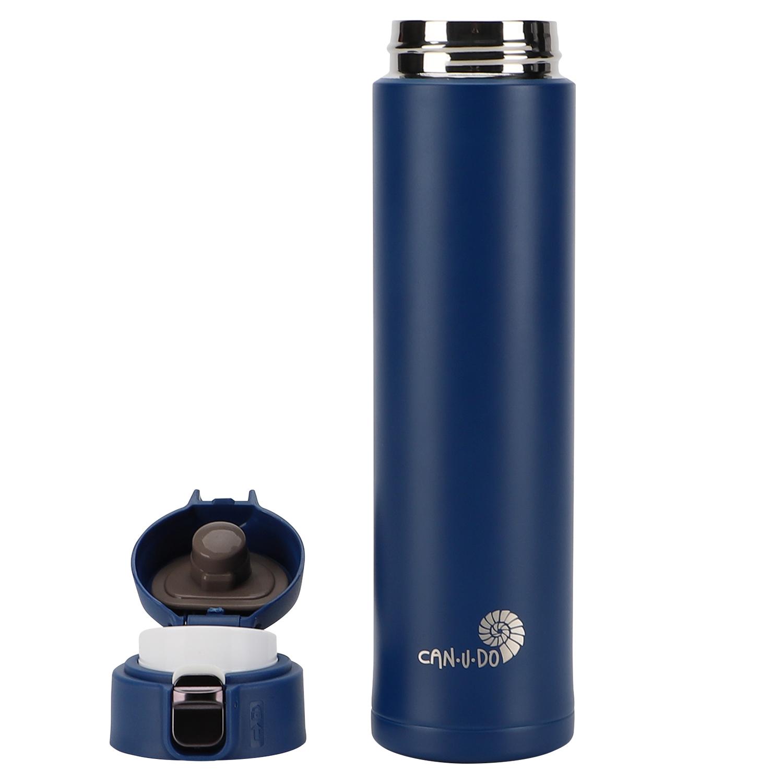 Garrafa Fast Click Azul Matte + Canudo Chaveiro RoseGold