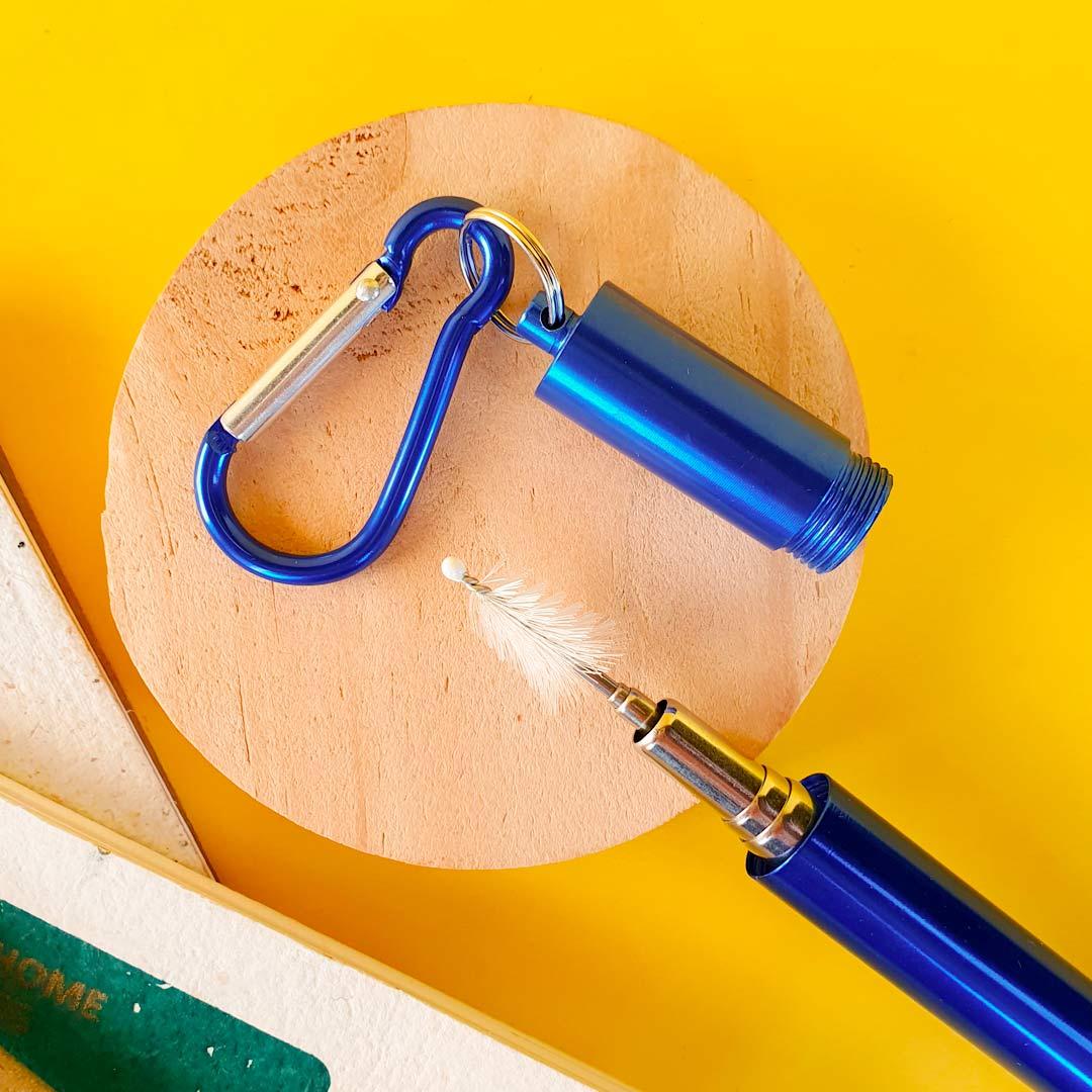 Garrafa Fast Click Azul Petróleo + Canudo Chaveiro Azul