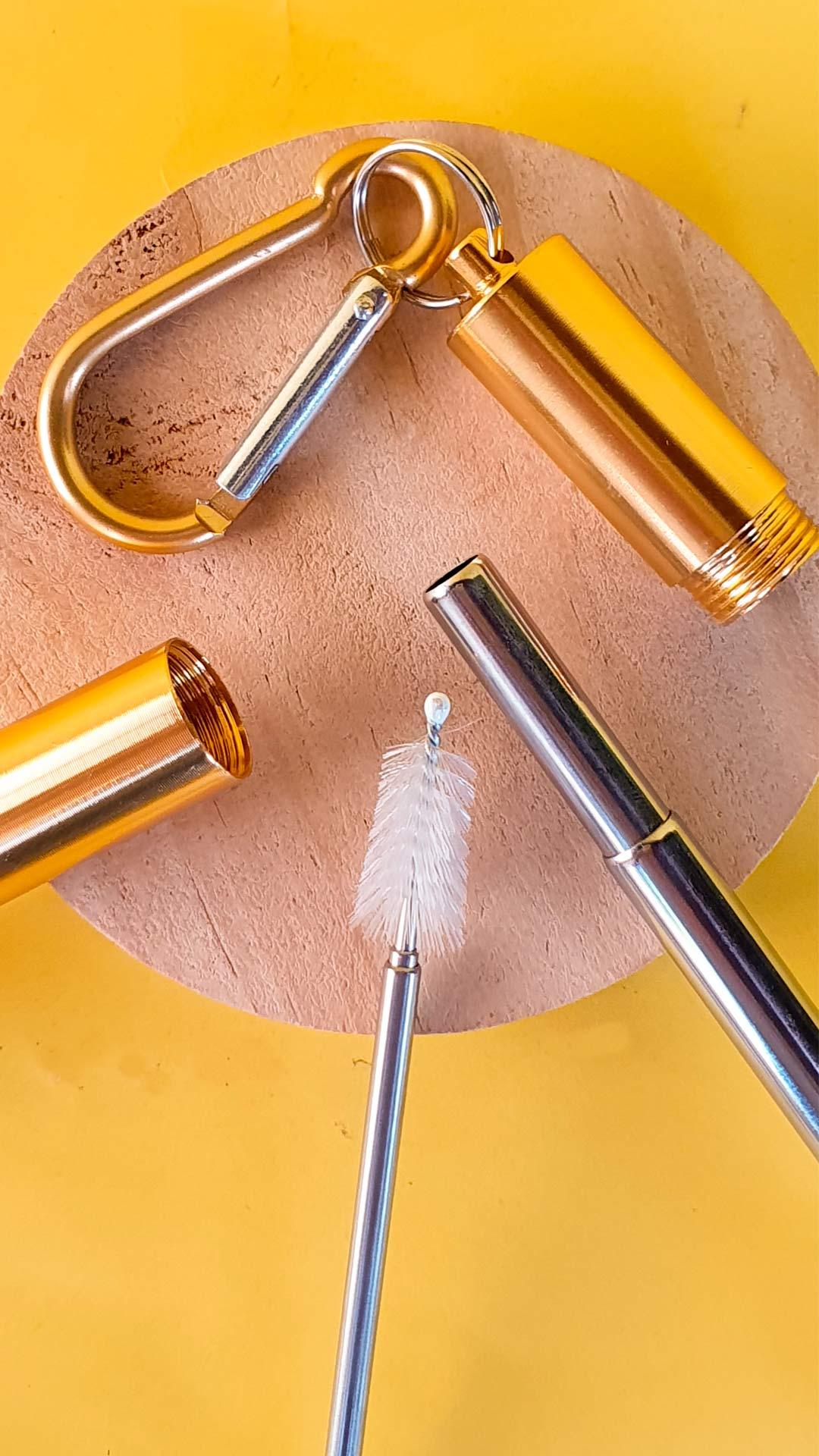Garrafa Fast Click Azul Petróleo + Canudo Chaveiro Dourado