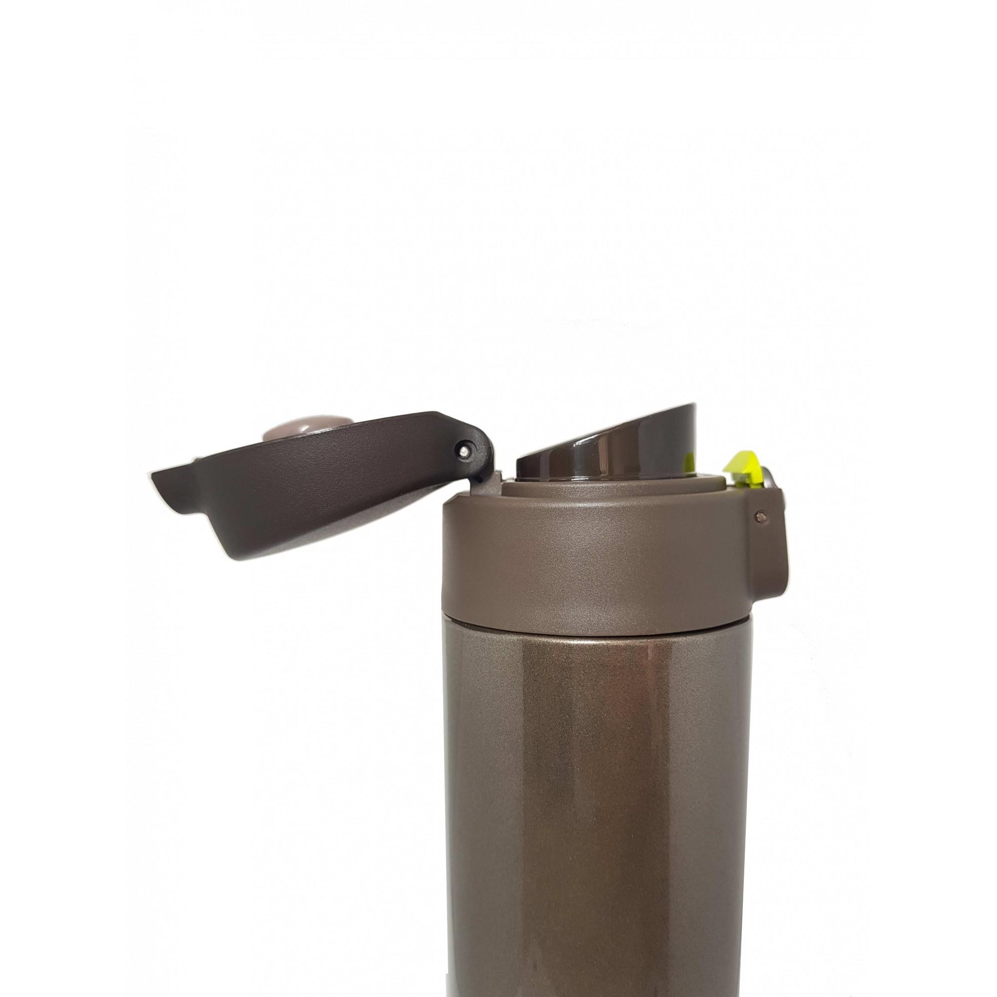 Kit Garrafa Térmica 500 ml Marrom + Canudo Chaveiro Preto
