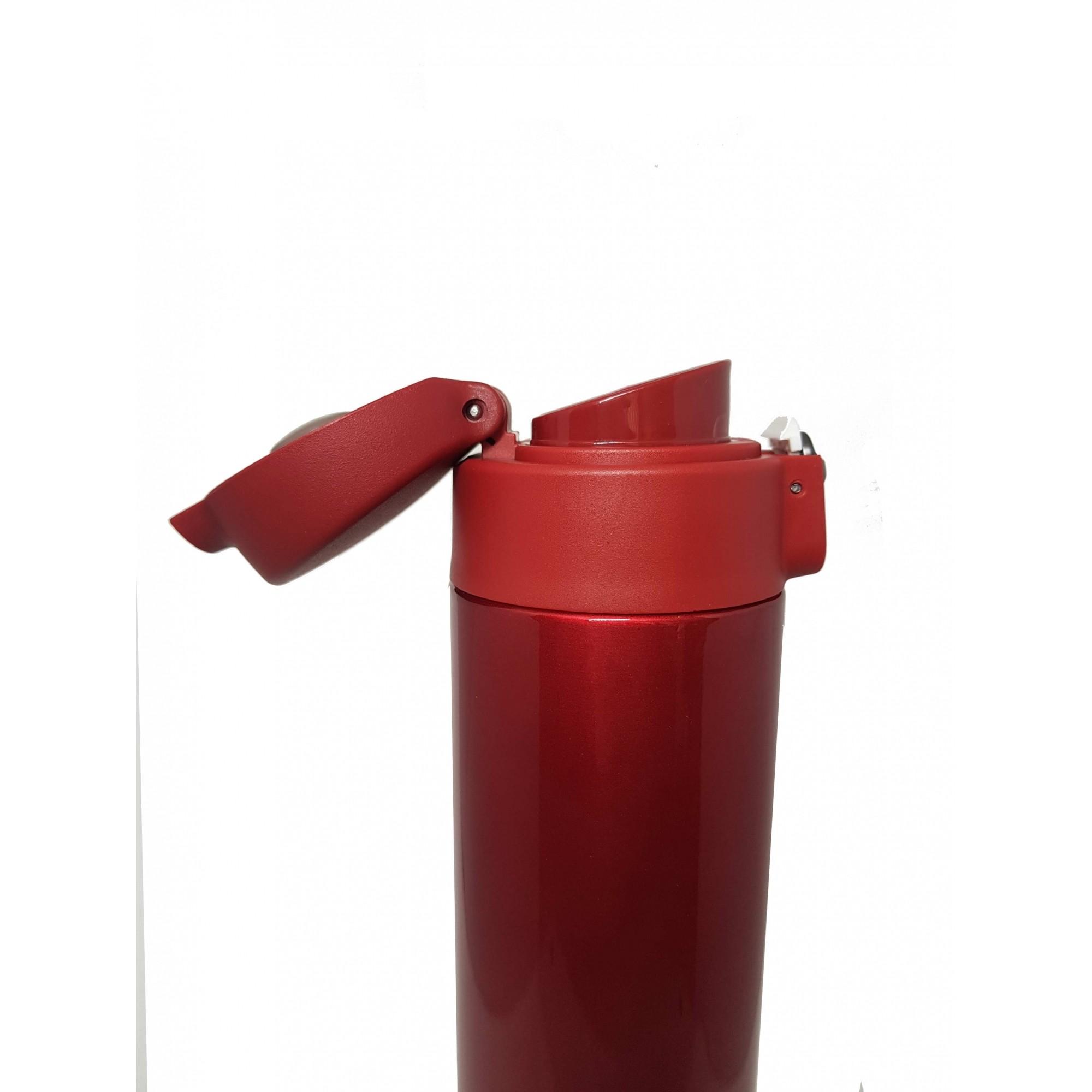 Garrafa Fast Click Vermelha + Canudo Chaveiro Dourado