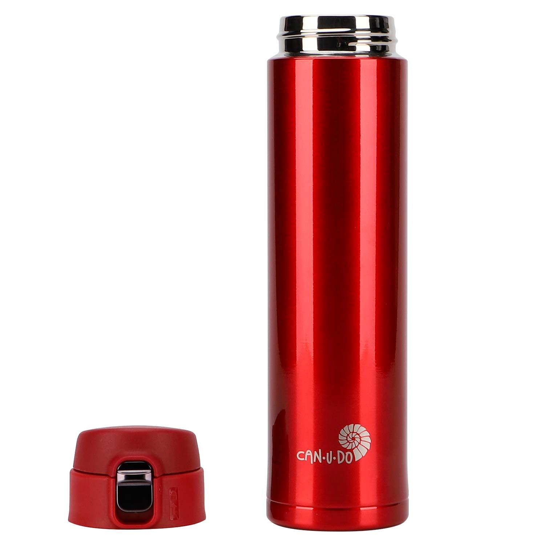 Garrafa Fast Click Vermelha + Canudo Chaveiro INOX