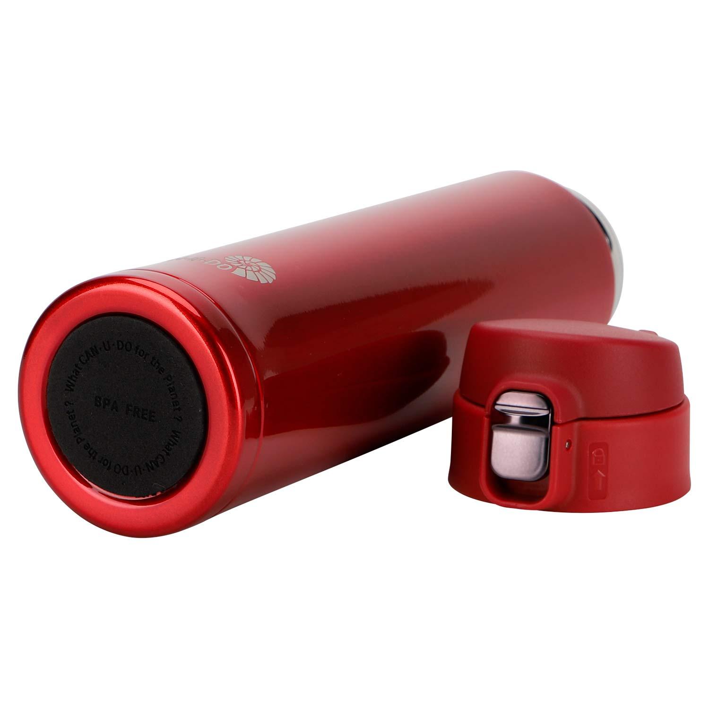 Garrafa Fast Click Vermelha + Canudo Chaveiro Rose Gold