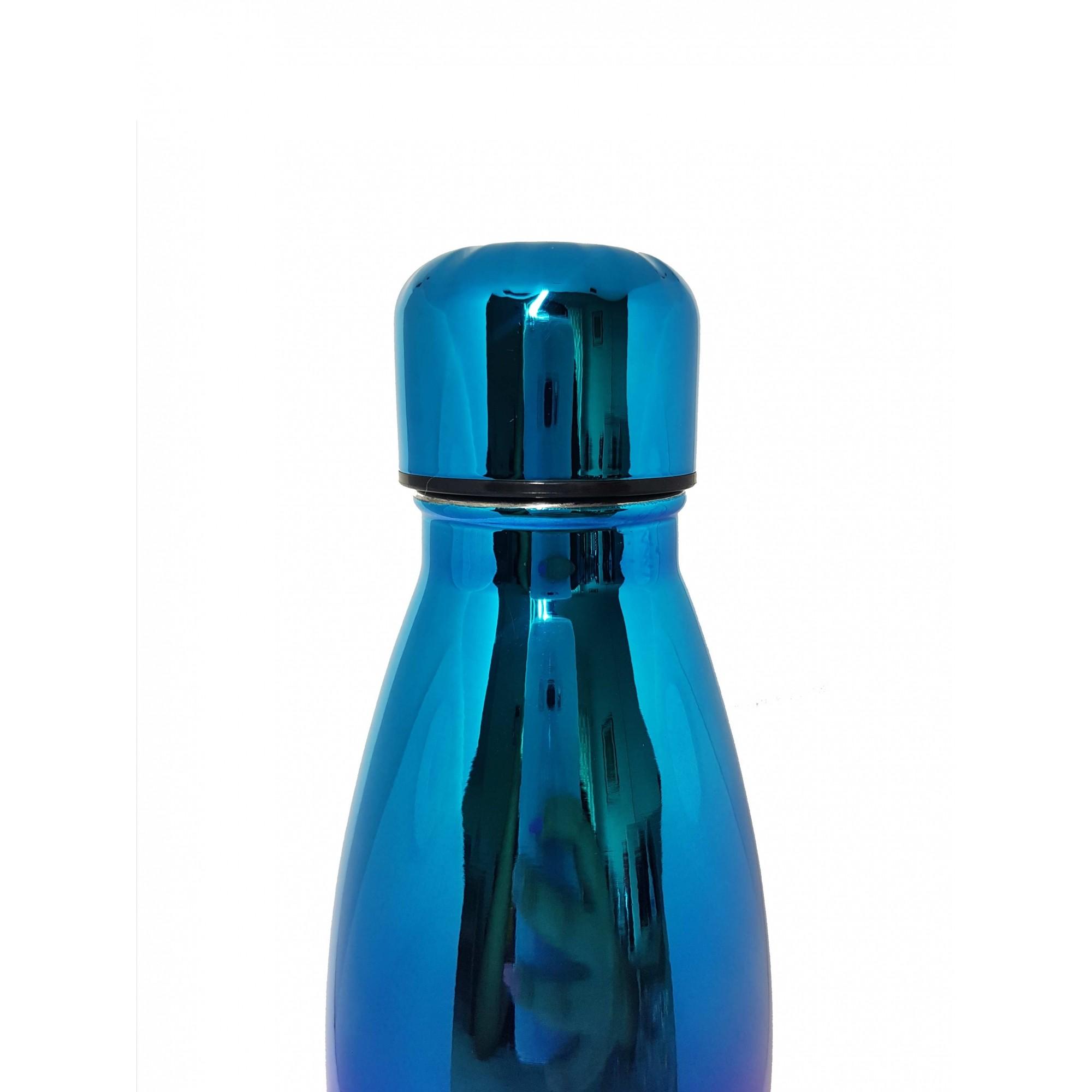 Kit Mundo Bolsa papel + garrafa Holográfica+ kit 5 em 1 inox Rosegold