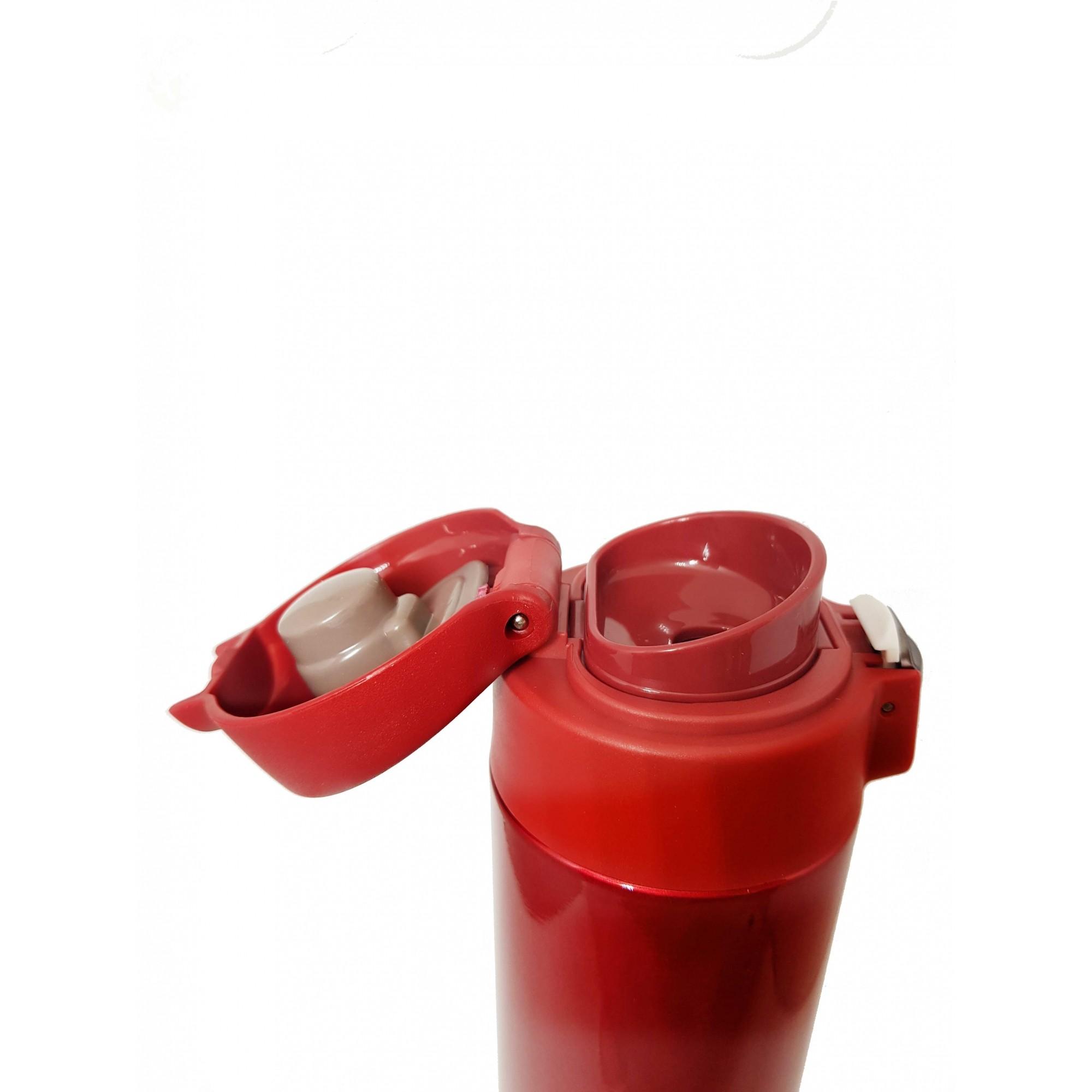 Kit Mundo Mochila + garrafa inox 500 ml Vermelha + kit 6 em 1 Rose Gold