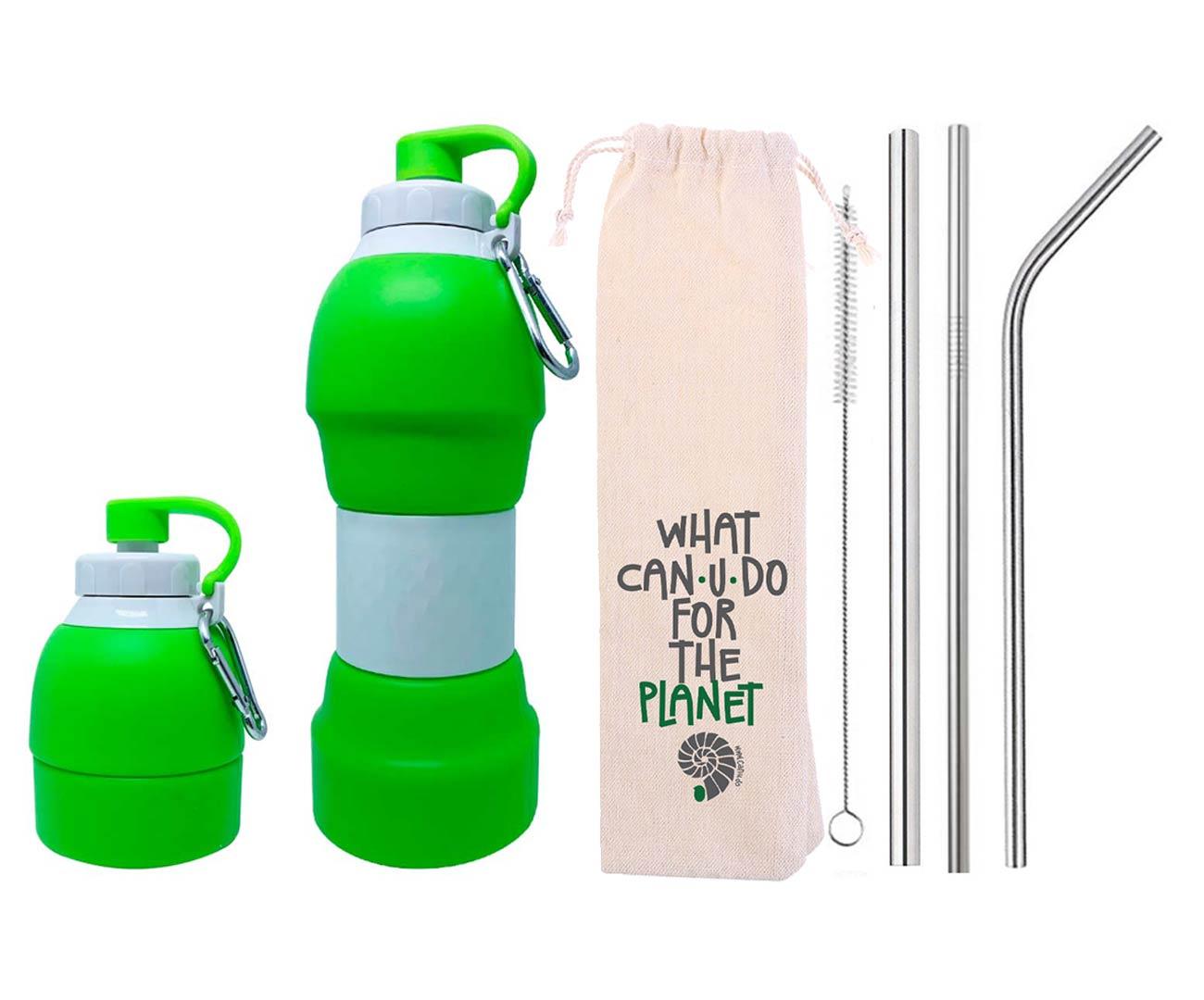 Kit Sustentável Garrafa de Silicone Verde e Canudos de Inox