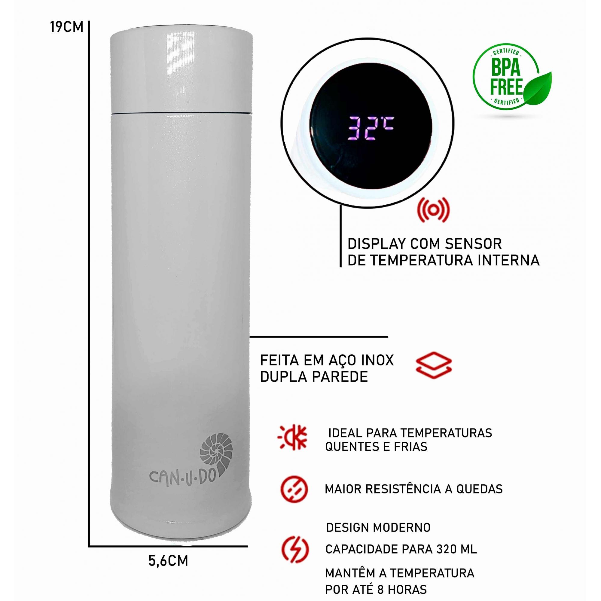 Kit Sustentável - Talheres de Bambu + Garrafa Térmica Smart 320 ml Branco