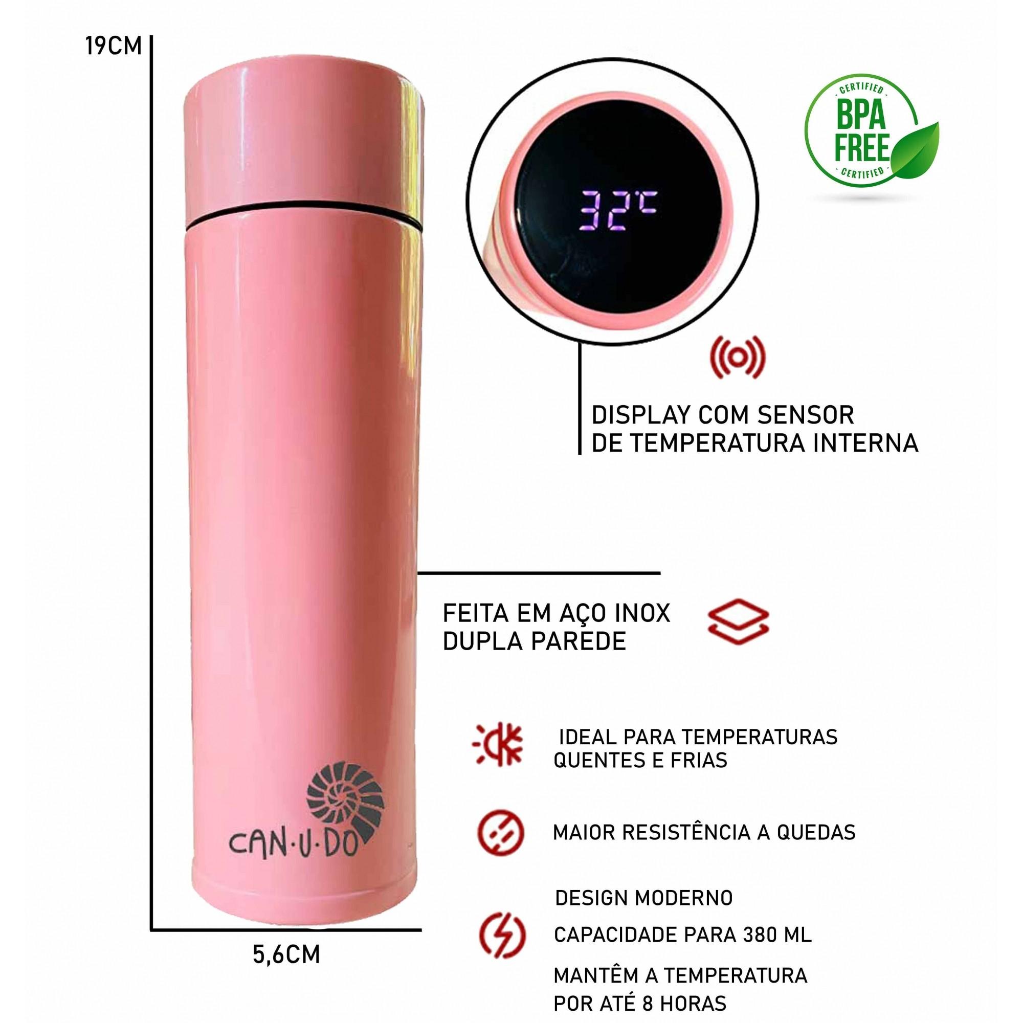 Kit Sustentável - Talheres de Bambu + Garrafa Térmica Smart 320 ml Ro