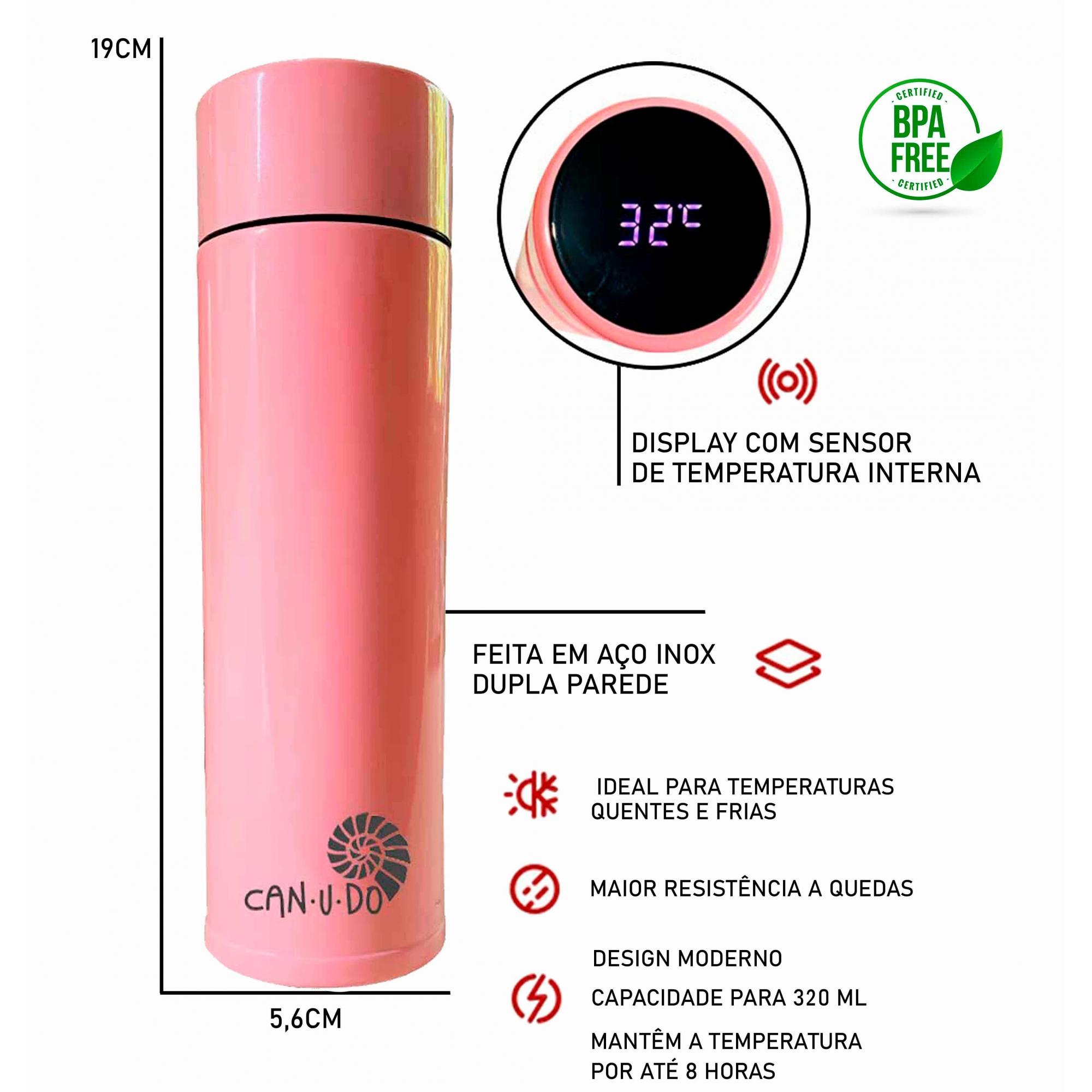Kit Sustentável - Talheres de Bambu + Garrafa Térmica Smart 320 ml Rosa