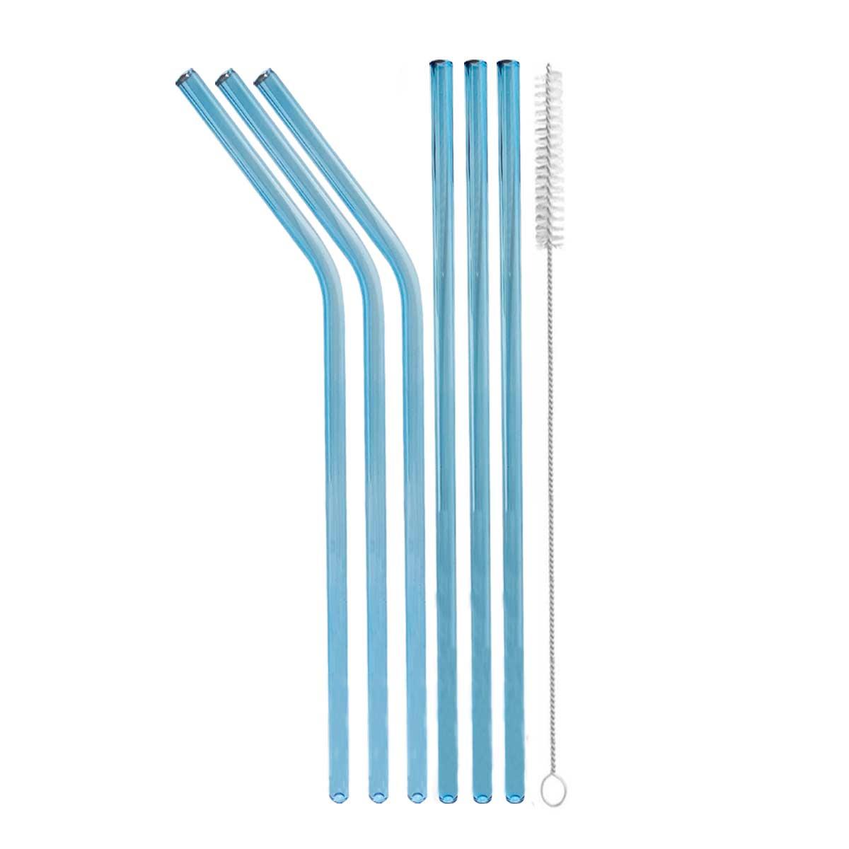 Kit 6 Canudos de Vidro Cloridos Shake 6mm + escova para limpeza