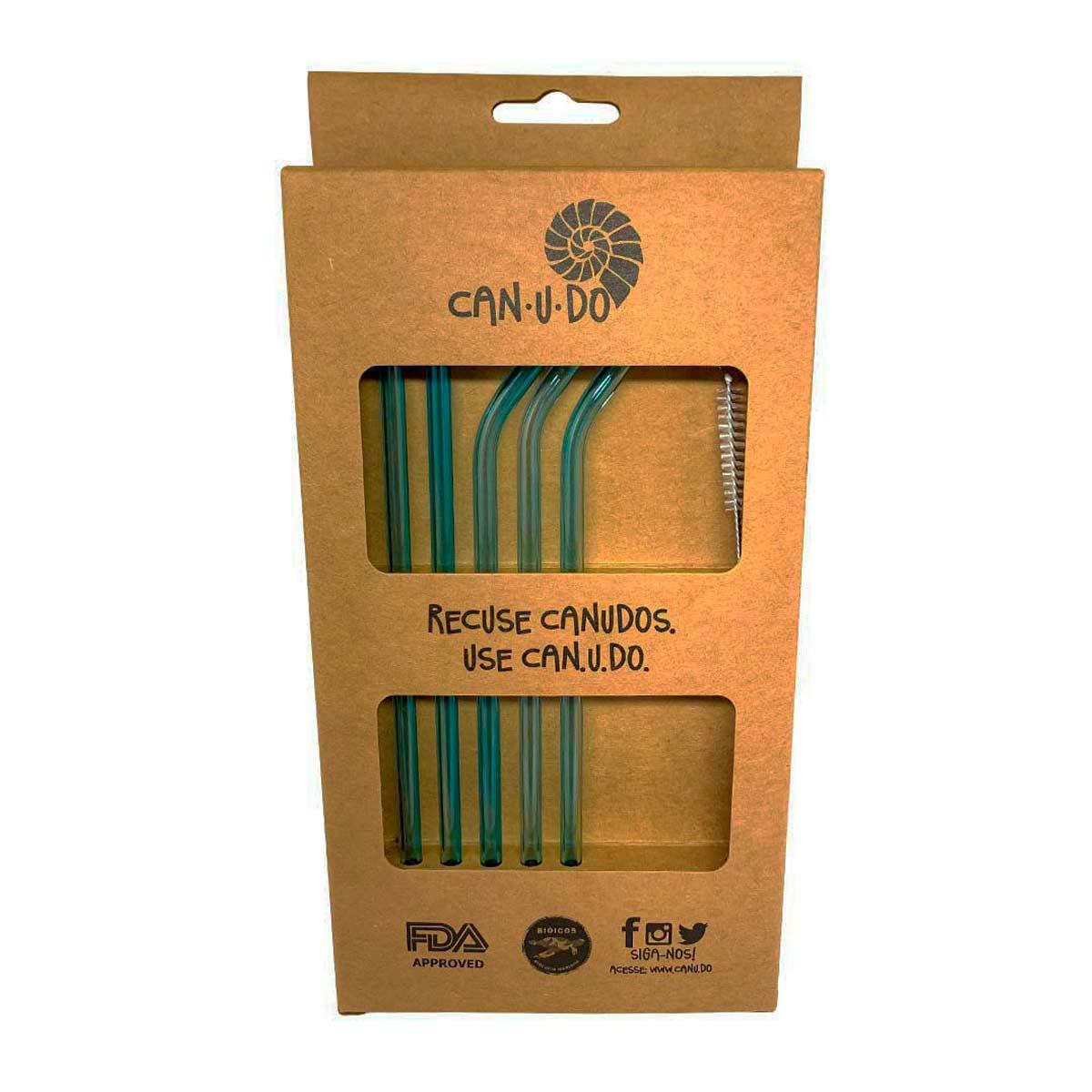 Kit 6 Canudos de Vidro Coloridos Shake 6mm + escova para limpeza