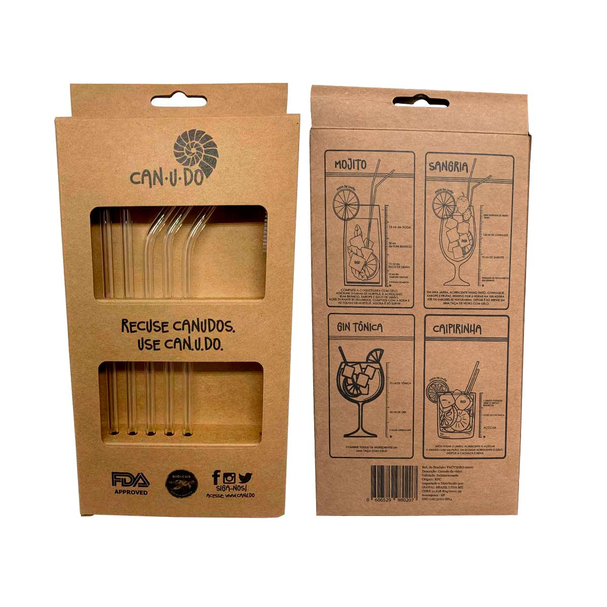 Kit 6 Canudos de Vidro Incolor 6mm + escova