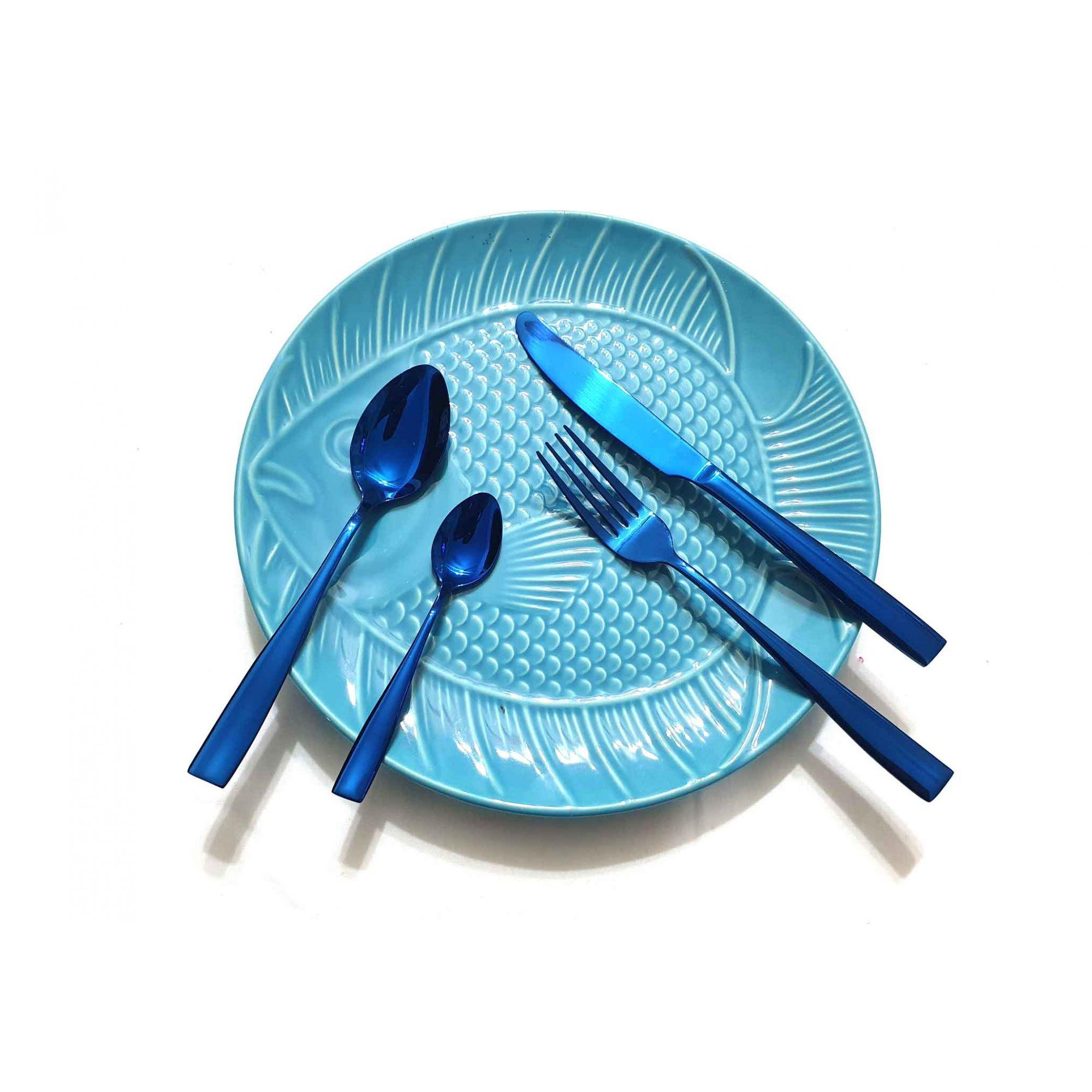 Talheres de Inox Brilhante Azul