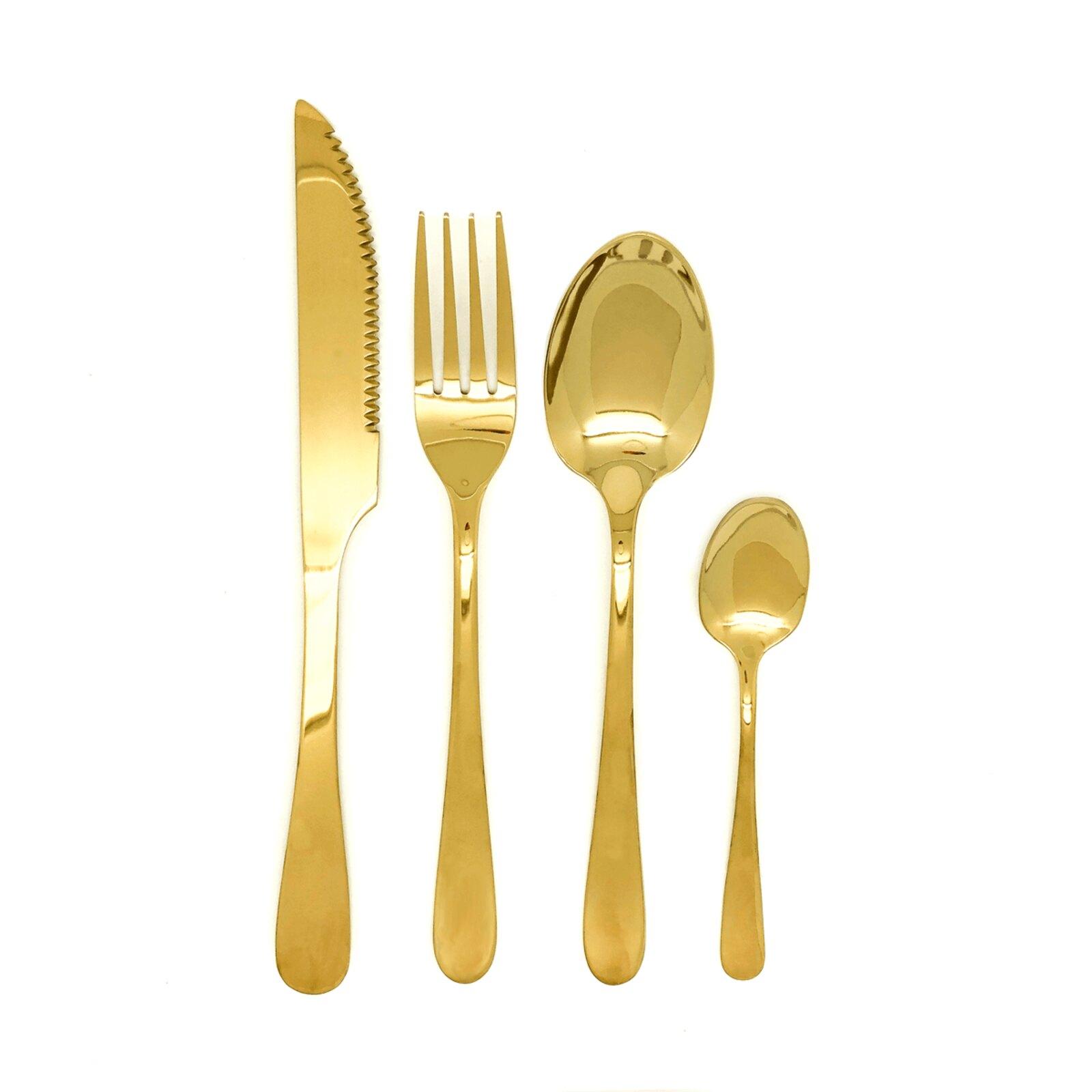 Talheres de Inox Brilhante Dourado - 4 Peças - OUTLET
