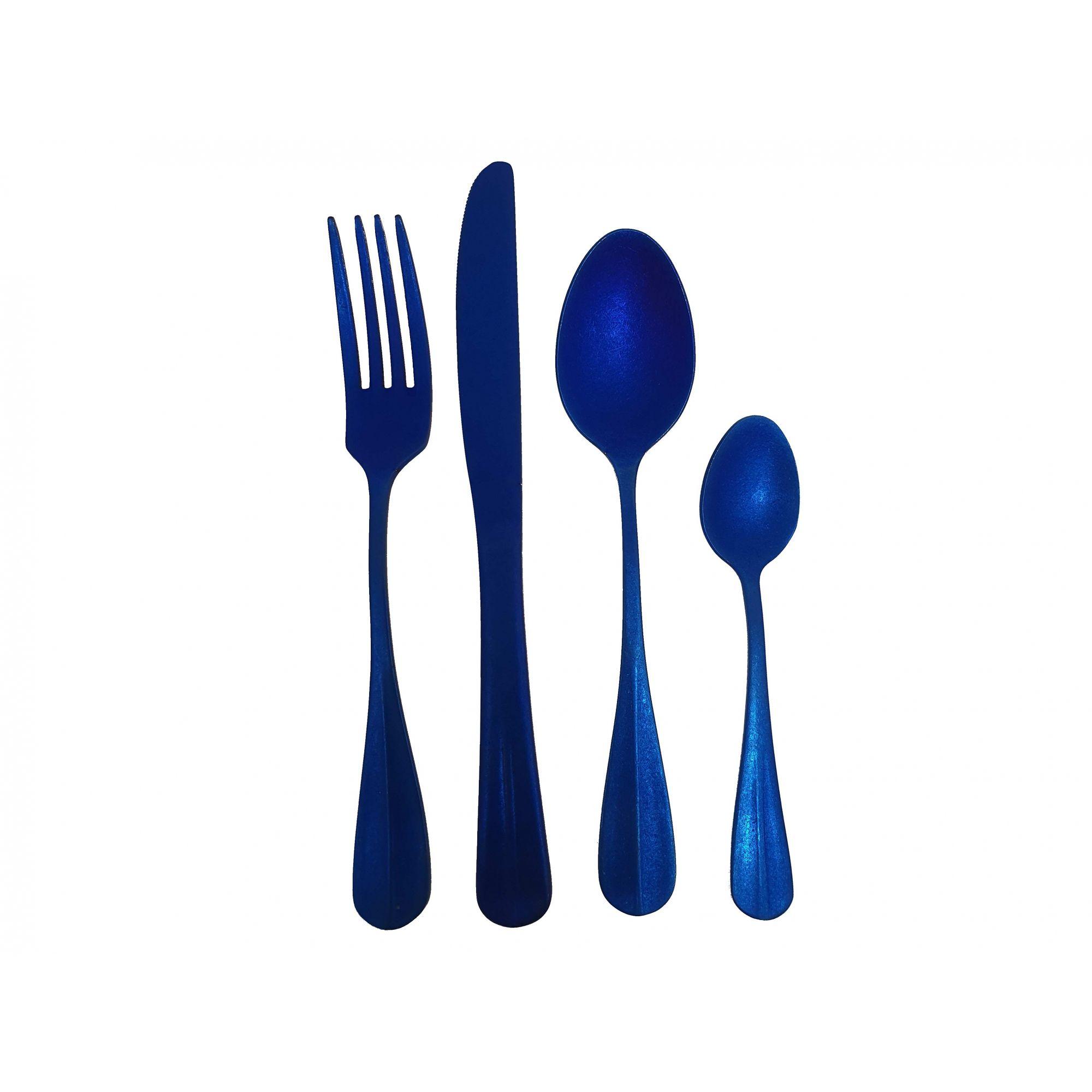 Talheres de Inox Envelhecido  Azul