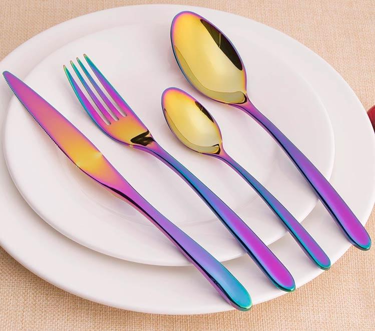 Talheres de Inox Brilhante Rainbow