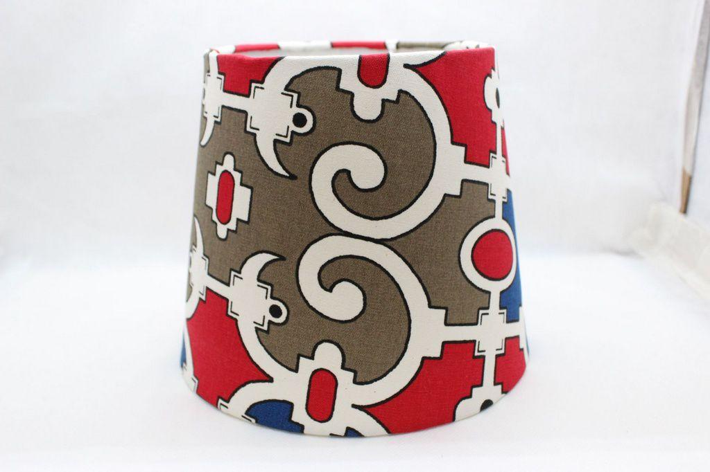 Cupula para Abajur Azul, Vermelho, Branco e Marrom
