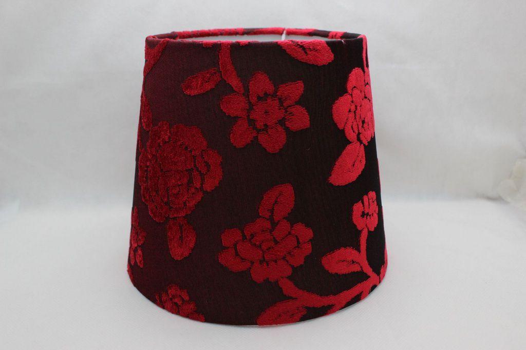 Cupula para Abajur Estampada Floral Vermelho