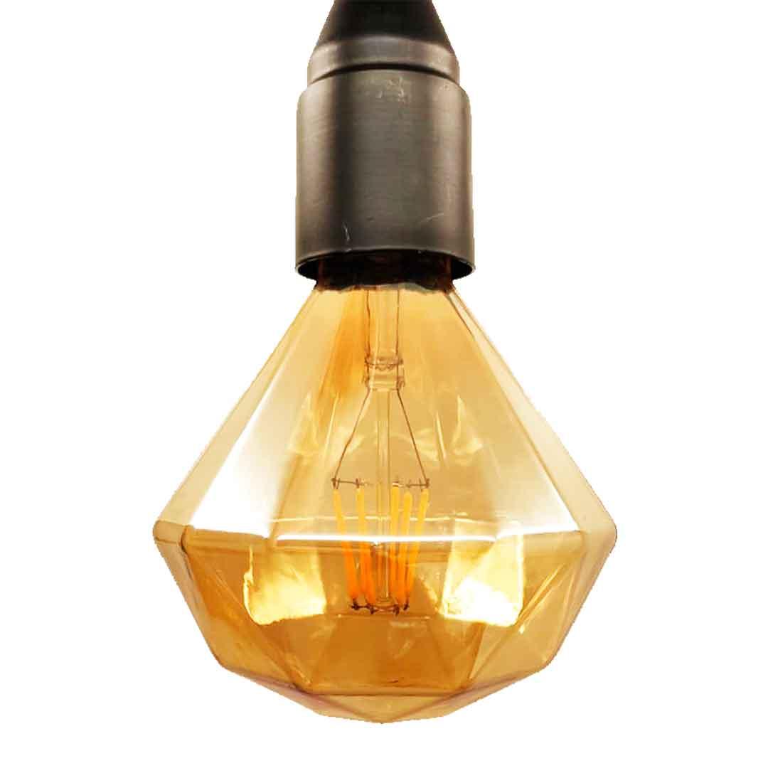 Lâmpada Diamante com Filamento em Led de 6w luz âmbar 2500k - BLB