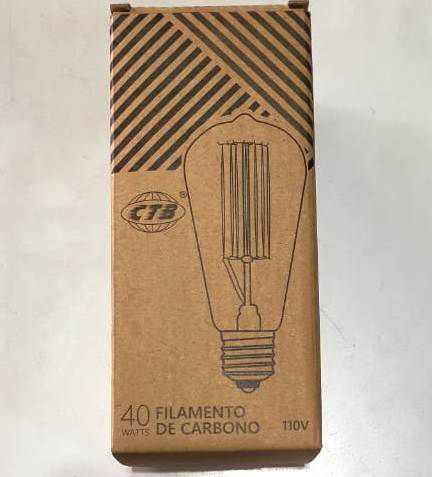 Lâmpada Filamento de Carbono 40w Vintage Retrô Luz Ambar 2700k - CTB Ref.BCF-ST64