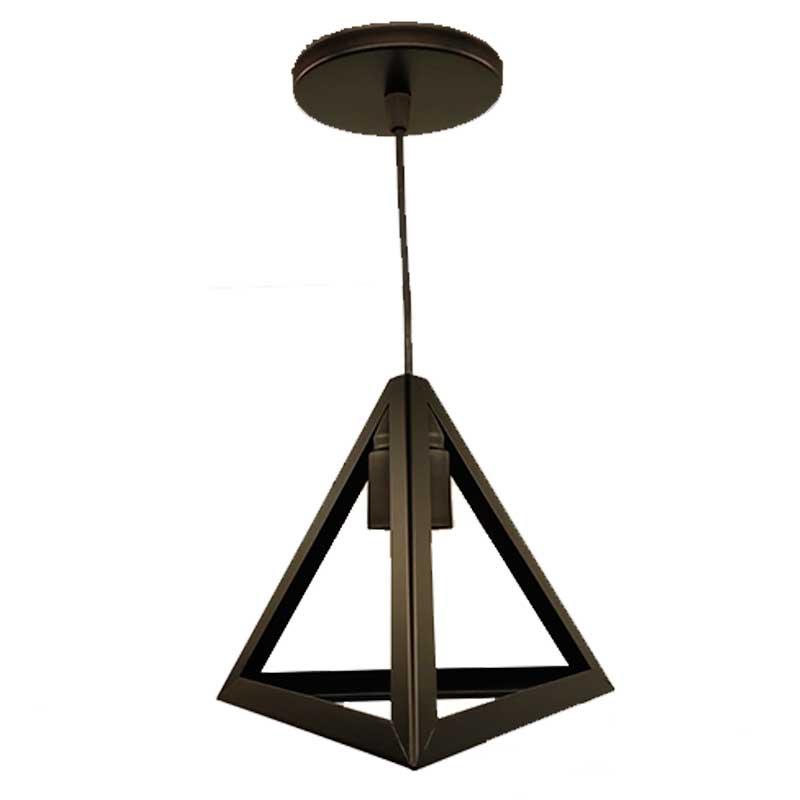 Lustre Pendente Triangular Metal Preto