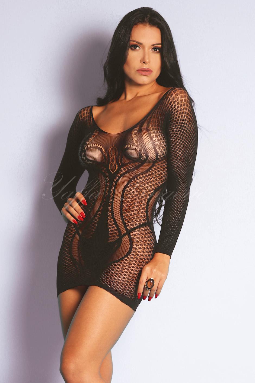 MINI VESTIDO SEXY PRETO C/ MANGA Y1005