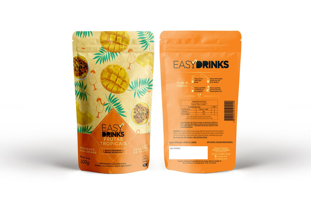 Preparado de Bebidas - Frutas Tropicais by Easy Drinks - 100g