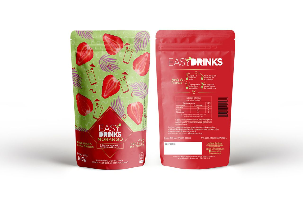 Preparado de Bebidas Sabor Morango by Easy Drinks - 100g