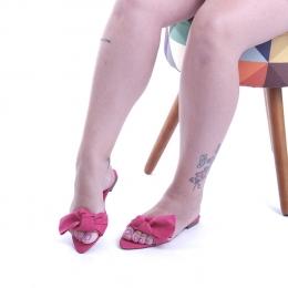 R184 Rasteira Bico Folha Laço Suede Rosa Pink