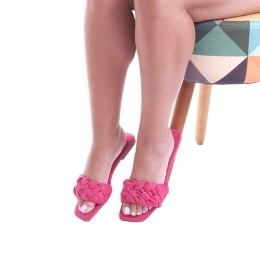 R282 Rasteira Ponteira Quadrada Flufly Rosa Pink