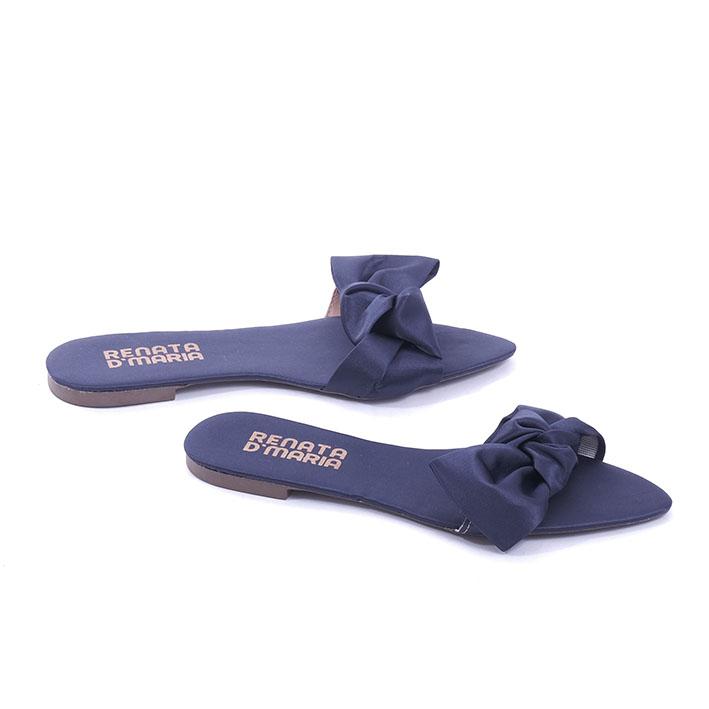 R101 Rasteira Bico Folha Laço Lateral Cetim Azul Marinho