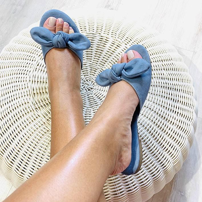 R121 Rasteira Ponteira Redonda Laço Azul Denim