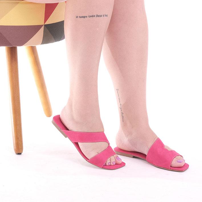 R144 Rasteira Ponteira Quadrada Recorte Suede Rosa Pink