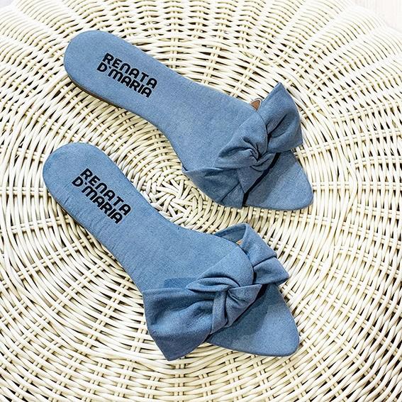 R181 Rasteira Bico Folha Laço Suede Azul Denim