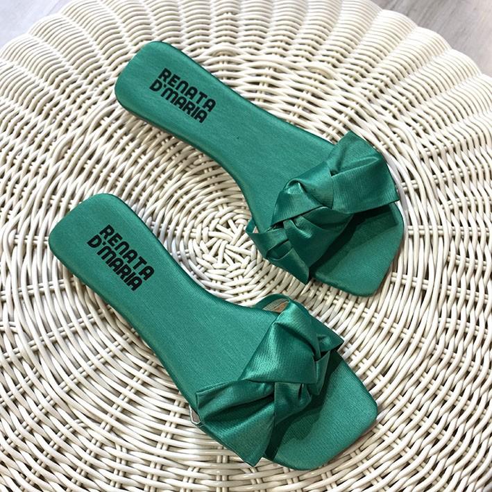 R527 Rasteira Ponteira Quadrada Cetim Laço Verde Bandeira